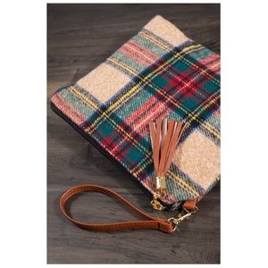 Tartan Plaid Crossbody Clutch Bag